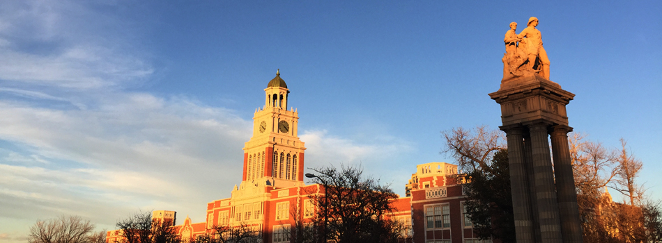 Denver's historic East High School at sunset