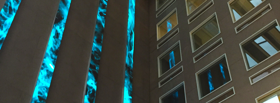 Edwin Schlossberg's video installation at the Wells Fargo Center downtown