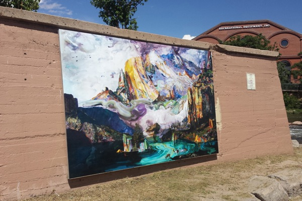 "Libby Barbee's ""Reimagining Bierstadt"" OneWall at Confluence Park."