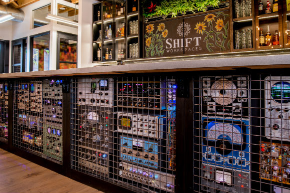 Shift Bannock's bar is made of electronics left behind by the former tenant.