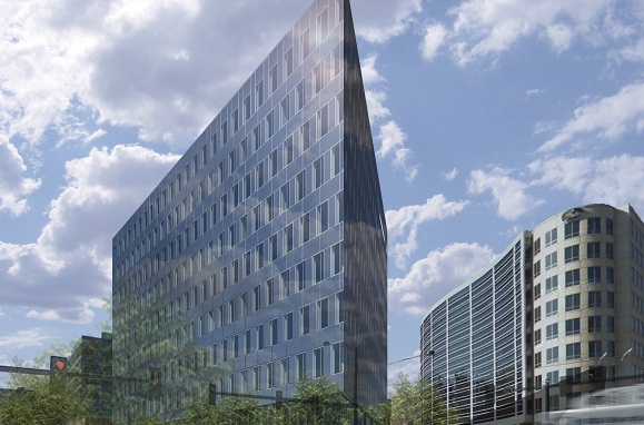 The Triangle Building's triangular shape with three facades provides 20 percent more window offi
