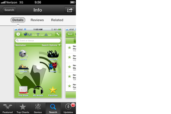 A screen shot of one of Xcellent Creations mobile apps for the iPhone.