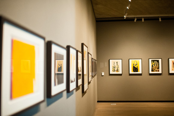 Paintings line the walls of the Clyfford Still Museum.