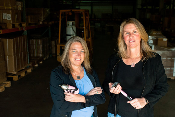 Owners, Mary Tatum, left, and Janet Rickstrew, in the warehouse of Tomboy Tools in Denver.