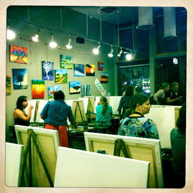 Sipping 'N Painting in the Highlands packs a full house.