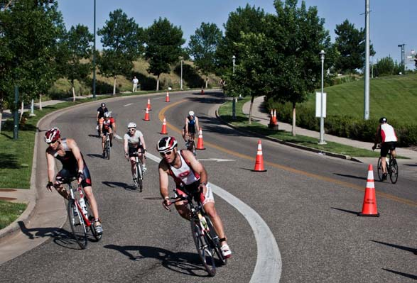 Cyclists compete in the Denver Triathalon.