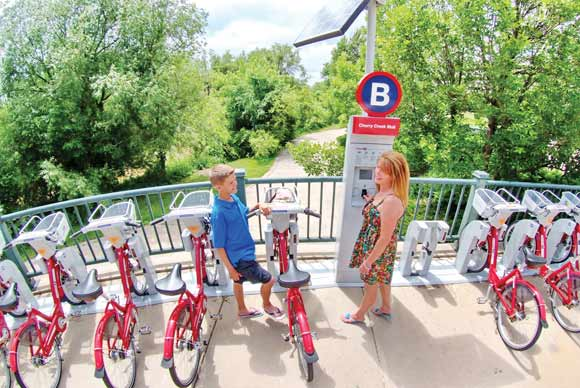 A B-cycle station in Cherry Creek.
