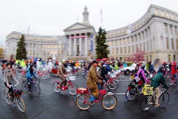 B-cyclists buzzing the Denver City and County Building.