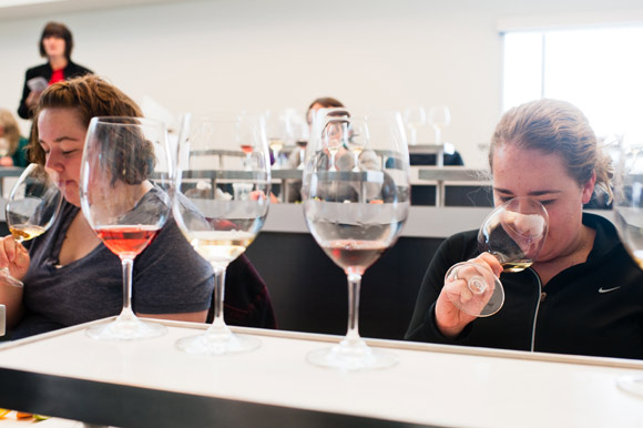 Students in a wine and food pairing class at MSU.