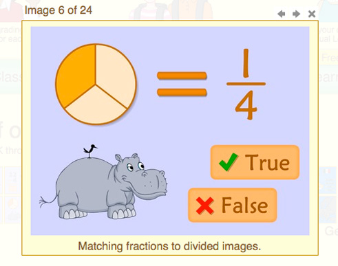An example of a math lesson on The Monkey Zone website.