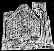 A linocut by Charly Fasano of the Brown Palace.