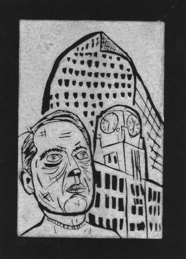 A linocut by Charly Fasano of downtown Denver.