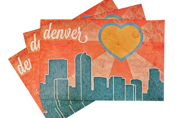 A postcard showcasing Denver's skyline and sunshine.