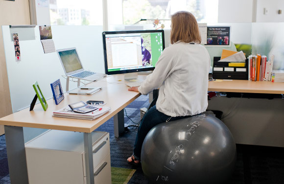 Ping Identity offers exercise balls for employees to sit on while working.