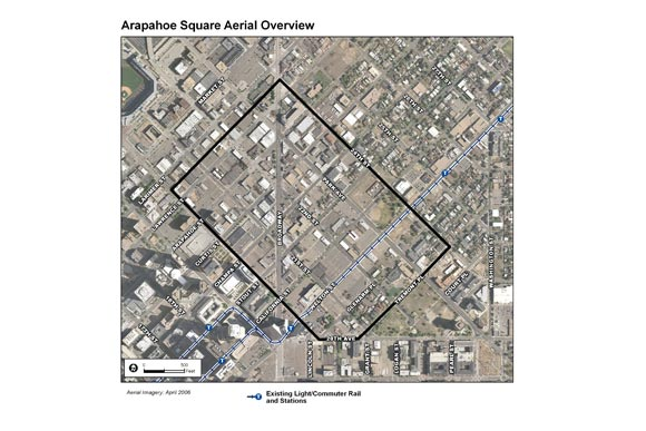 An aerial graphic of Arapahoe Square.