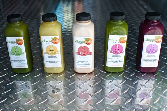 The juice at Vibrant Earth is made overnight by her staff in a local commercial kitchen and is about 98% organic.