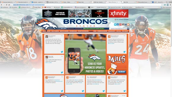 A screenshot of the Broncos' Twitter page created by Wayin.