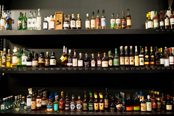 A large variety of liquor at the Proper Pour.