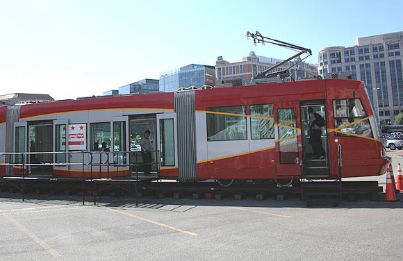 "A DC Streetcar on display at a ""streetcar rollout"" in 2010."