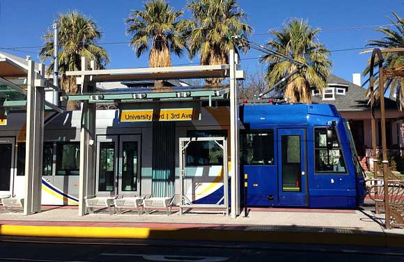 A Tucson Sun Link streetcar stops at the 3rd and University station in Tucson.