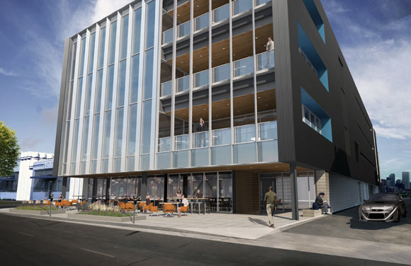 A rendering of a new Galvanize building in downtown Denver.