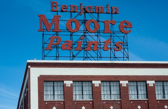 The Benjamin Moore Paints sign decorates Broadway.