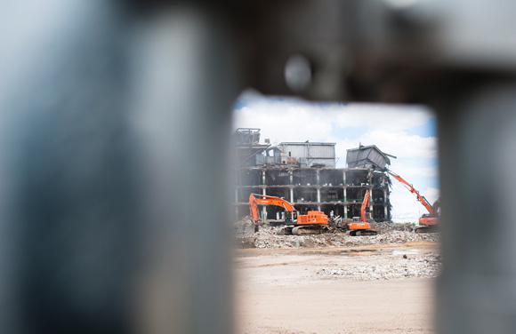 The old Gates Rubber Factory is being torn down.