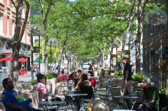 A wide variety of people gather on the 16th Street Mall daily.