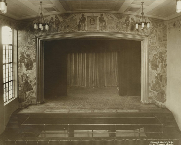 Painted in 1929 by John Edward Thompson, a large Shakespearean mural frames the stage.