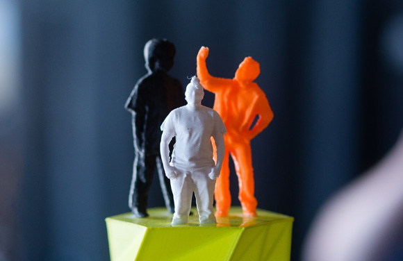 Mar Williams, center, as a 3D printout.
