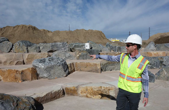 Michael Bouchard of Denver Parks and Recreation shows off the amphitheater at Johnson-Habitat Park.