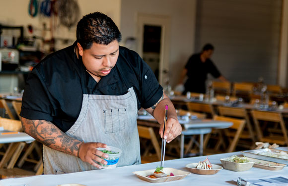 "Dinner Lab launched in Denver's RiNo neighborhood at The Infinite Monkey Theorem in late September with Chicago chef Danny Espinoza's ""New Age take on Mexican ingredients and flavors."""