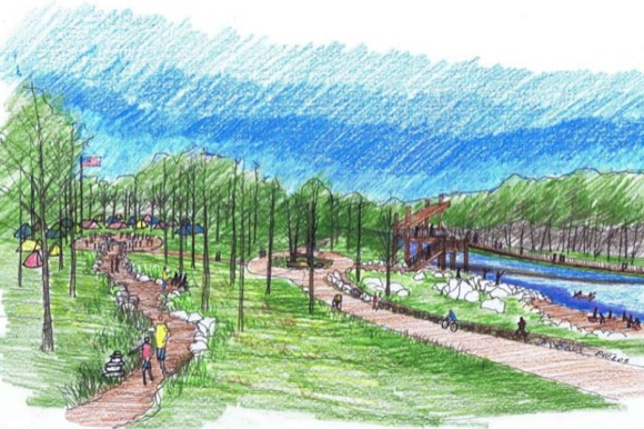 A rendering of Johnson-Habitat Park shows off the campground.