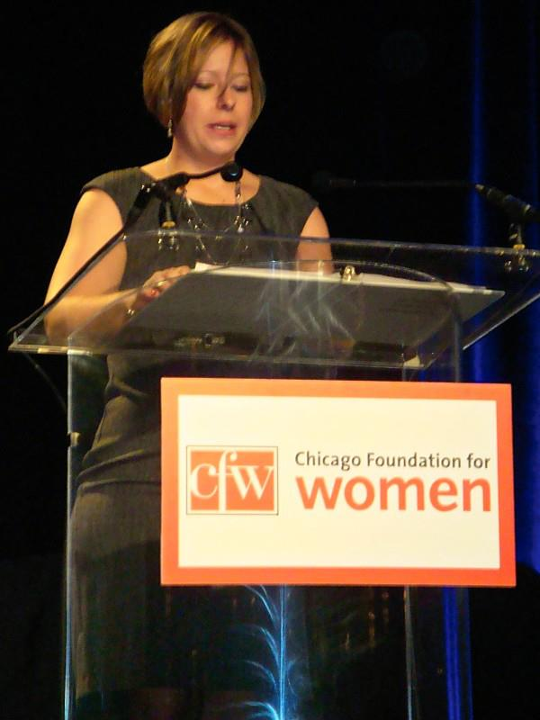 Tawnee McCluskey speaks at the Chicago Foundation for Women 27th annual luncheon.