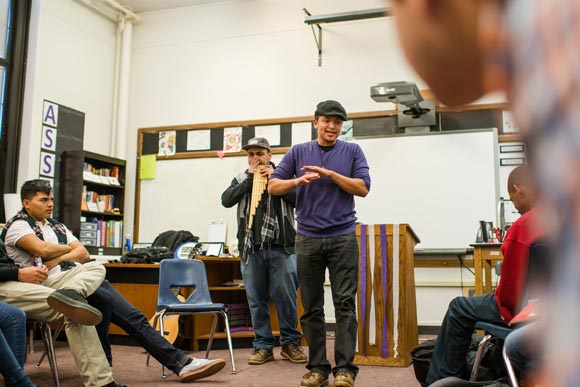 Molina and guest artist Pablo Kee (left) perform at the start of a class at Venture Prep.