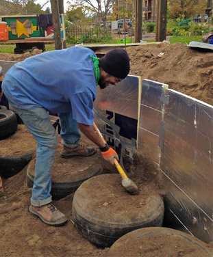Tires are a key material in an earthship build.
