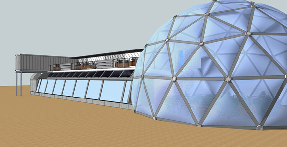 A rendering of Wird's earthship center in Denver.
