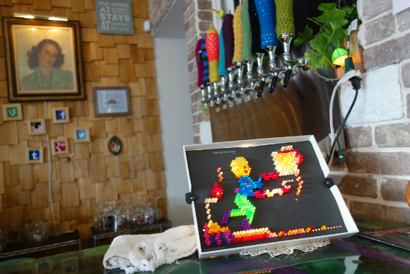 With a Lite-Brite and knit taphandle covers, Grandma's House is the setting for many craft projects.
