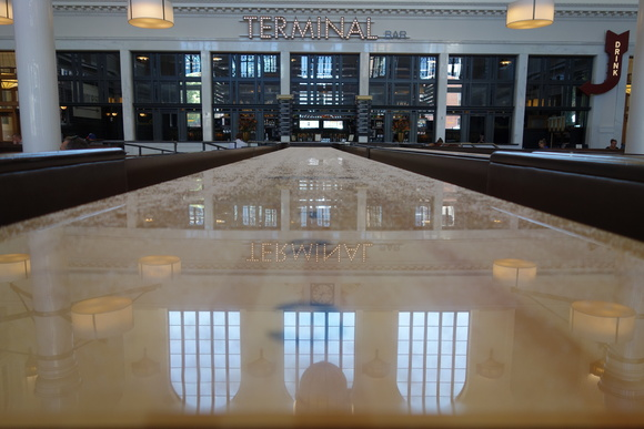The shuffleboard reflects Union Station's Great Hall.