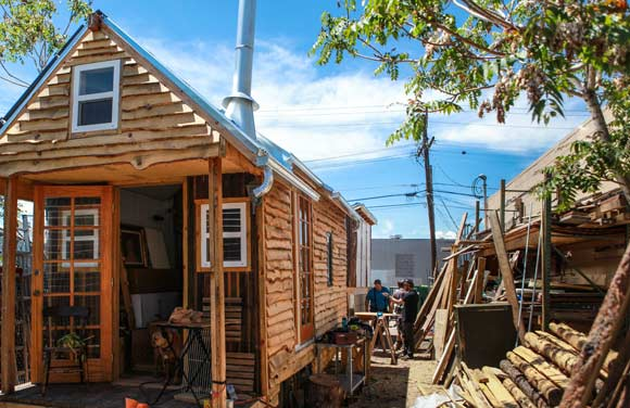 The first tiny home built by Marcus Hyde and Denver Homeless Out Loud nears completion.
