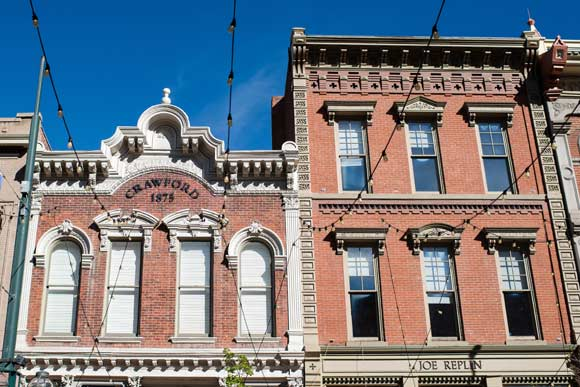Historic buildings line Larimer Square.