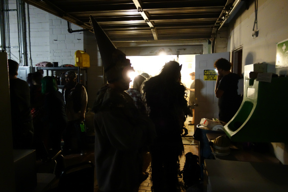 At about 7 p.m., the makeup trailer is a frenzy of monsters, mutants and clowns.