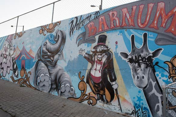The neighborhood's namesake comes from master showman P.T. Barnum.