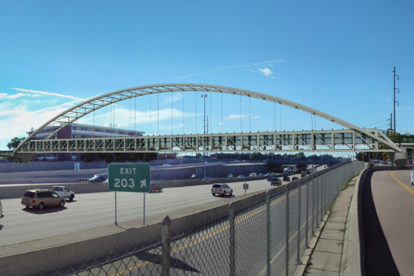 The bridge over I-25 at Colorado Boulevard will be open in late summer 2015.