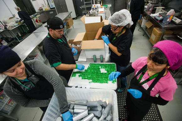 The Mile High City's booming marijuana industry has created and catalyzed thousands of jobs. Employees at Dixie Elixirs package edible chocolates.