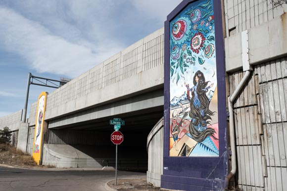 In 2013, PlatteForum ArtLab commissioned the group's first public art installation at Globeville's Lincoln Street Underpass.