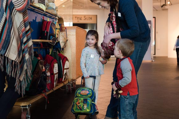 Family backpacks are available for children at the Denver Art Museum.