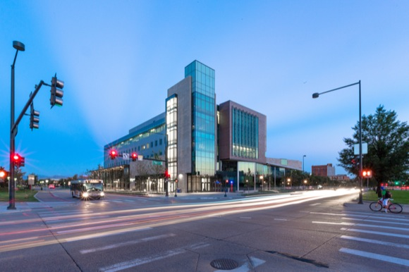 Opening on the Auraria campus in 2014, CU Denver's new Academic Building activates Speer Boulevard.