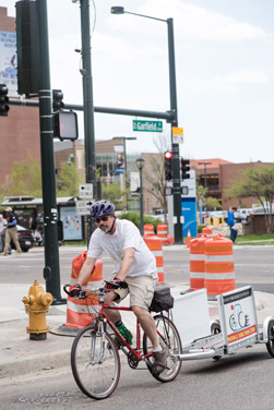 Bicyclists pick up and deliver for Fresh Food Connect.