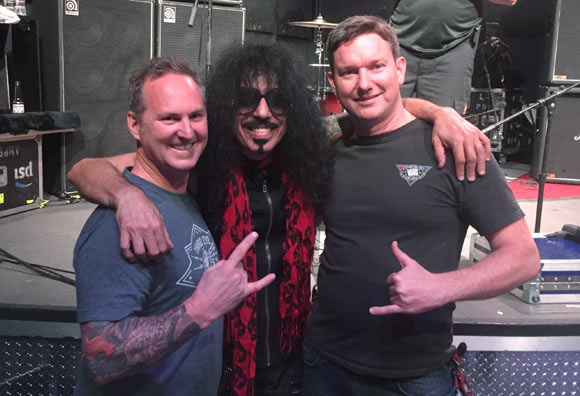 Pictured with Quiet Riot's Frankie Banali, Troy Guard (left) is a huge fan of '80s metal.